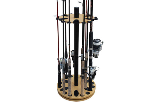 Rush Creek Creations 24 Spinning Round Fishing Rod Rack with Rod Clips