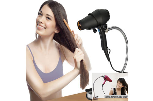 Pard Hair Dryer Stand Holder - Stainless Rotation Hands-Free Hairdryer Holder with Sucker