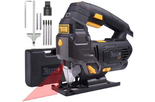TECCPO 6.5 Amp Jig Saw with Laser Guide & 6pcs Blades