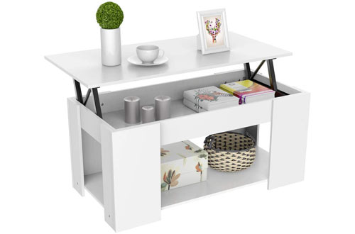 Yaheetech White Lift-up Top Coffee Table with Storage & Shelf