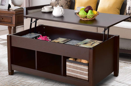Tangkula Modern Wood Coffee Table with Lift Top with Storage