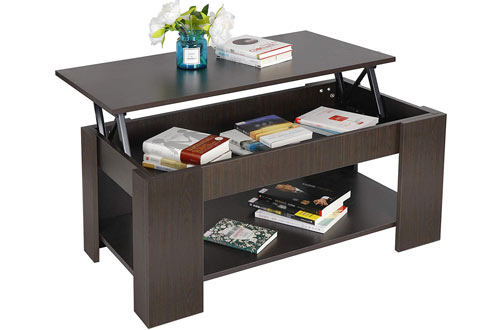 SUPER DEAL Black Lift Top Coffee Table with Hidden Compartment & Storage Shelves