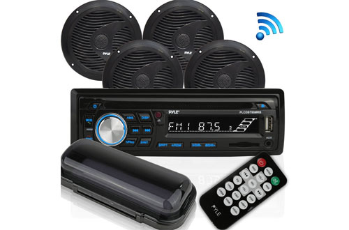 PyleWireless Bluetooth Marine Audio Stereo with Single DIN Universal Radio Receiver