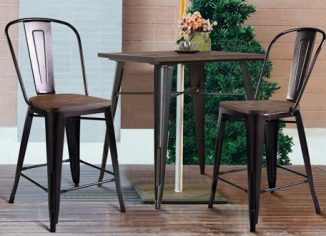 COSTWAY Tolix Modern Kitchen Dining Bar Chairswith Wood Seat and Backrest
