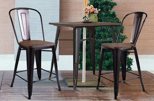 COSTWAY Tolix Modern Kitchen Dining Bar Chairs with Wood Seat and Backrest