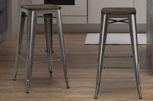 DHP Fusion Metal Backless 30-Inch Bar Stool with Wood Seat