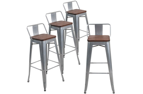 Andeworld Counter Height Industrial Metal Bar Stools with Back