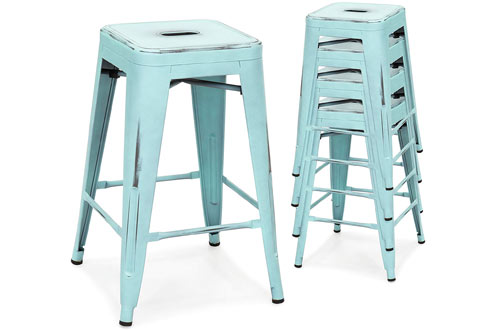 Best Stackable Modern Industrial Distressed Metal Bar Stools