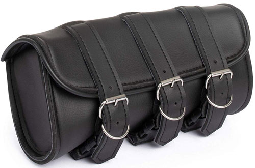 The Nekid Cow Black  Leather Tool Bag Pouch for Sissy Bar or Handlebars