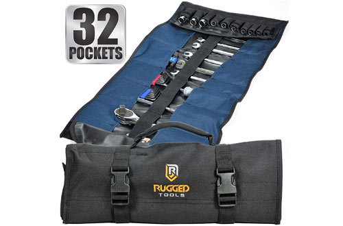 Rugged Tools Pocket Tool Roll Organizer - Wrench Organizer & Tool Pouch