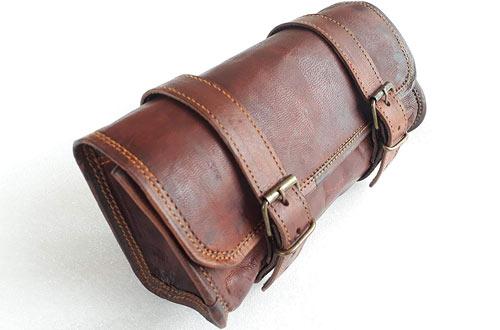 Vintage Leather Brown Motorcycle Tool Bagfor Handlebars, Forks & Sissy Bar
