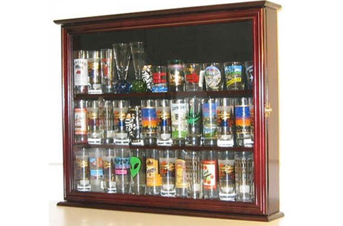 DisplayGifts Hard Rock Shot Glass and Tall Shooter Display Case Holder Cabinet