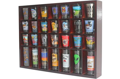 DisplayGifts28 Shot Glass Shooter Display Case Holder Cabinet Rack