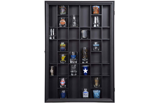 Gallery Solutions Display Hinged Front - Black Shot Glass Case