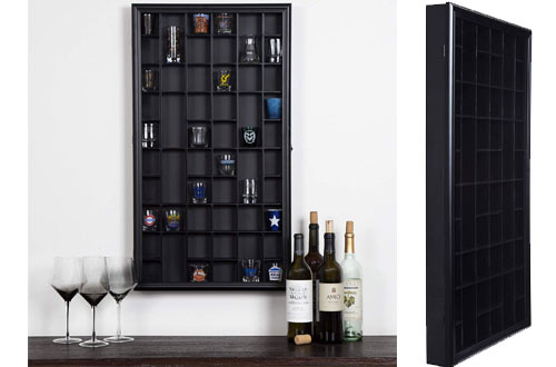 Gallery Solutions Black Display Hinged Front  Shot Glass Case