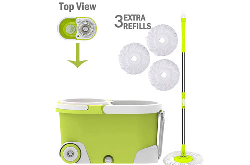 ALLZONE Spin Mop Bucket with Wringer On Wheels