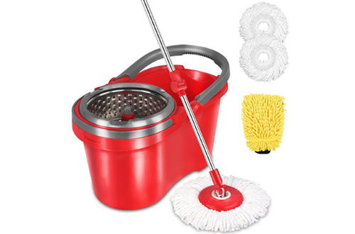 HAPINNEX Spin Mop Wringer Bucket Set for Home Floor Cleaning