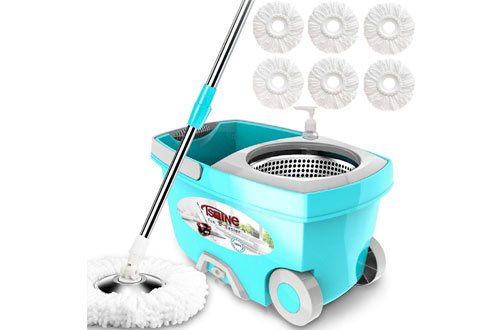 Tsmine Deluxe Stainless Steel Spinning Mop Bucket with Microfiber Replacement Head