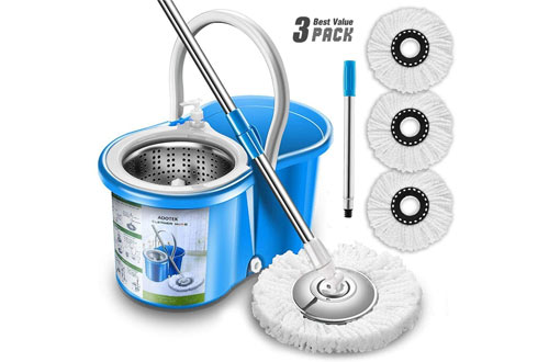 Aootek Stainless Steel Deluxe Spin Mop & Bucket Floor Cleaning System