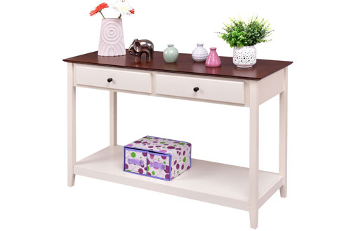 Giantex White Wood Console Sofa Table with Drawer and Shelf