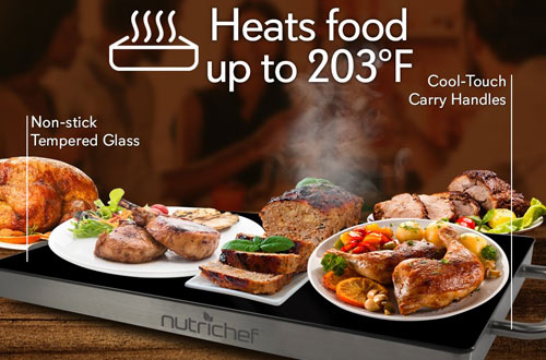 Nutrichef Electric Food Hot Plate & Warming Tray Dish Warmer for Buffet Serving