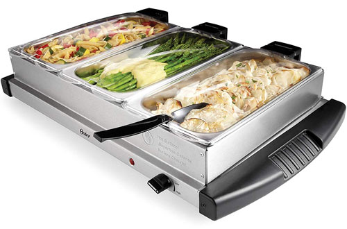Oster Buffet Server Warming Tray &  Stainless Steel Triple Tray