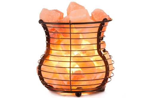 Crystal Allies Gallery - Natural Himalayan Salt Wire Mesh Basket Vase Lamp