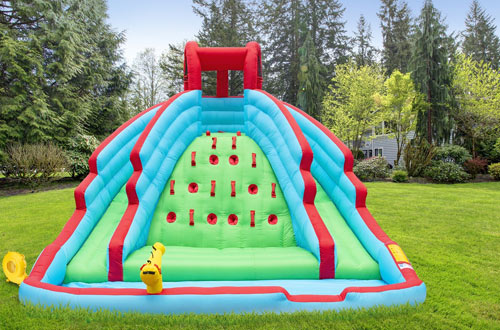 Sunny & Fun Deluxe Inflatable Water Slide – Nylon Bouncy Station for Outdoors