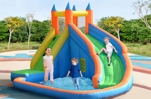 Costzon Inflatable Slide Bouncer - Water Pool Slide Climber Castle Bounce House
