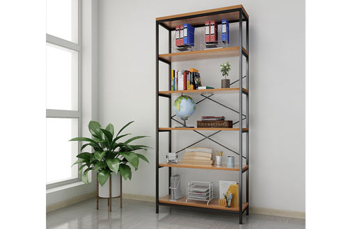 Papafix 5-Tier Bookshelf Wood Open Metal