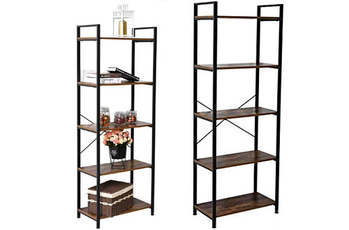 IRONCK Ladder Bookshelf Ladder Vintage Industrial Bookcase for Home Decor & Office