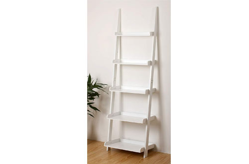 eHemco 5-Tier White Leaning Ladder Bookshelf