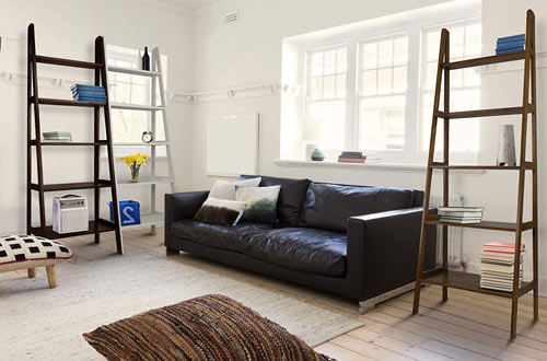 Casual Home 5-Shelf Bookcase with Ladder