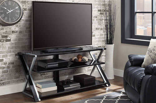 """Whalen Xavier 3-in-1 70"""" TV Standwith Silver Accents"""