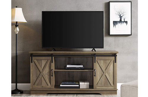 Home Accent Furnishings Sliding Barn DoorRustic Oak FinishTelevision Stand