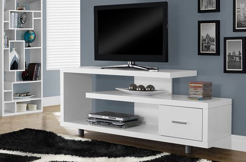 "Monarch Specialties White 60"" TV Stand with Drawer"