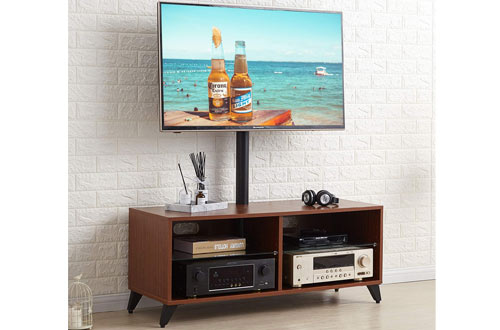 SRCOM Universal Floor Wood TV Console with Swivel Mount