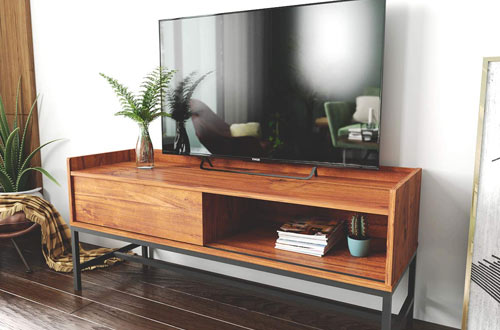 Roomfitters Mid Century Modern TV Console with Sliding Door
