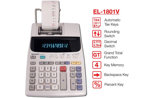 Sharp EL-1801V Two-Color Printing Calculator