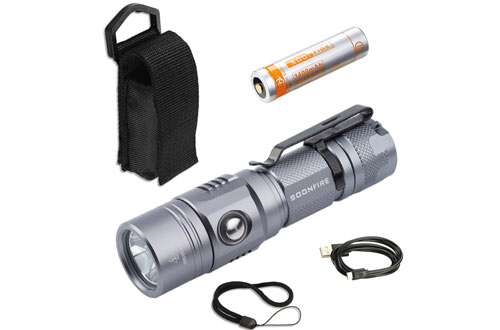 Soonfire E11 USB Rechargeable Waterproof Bright Flashlight with Battery