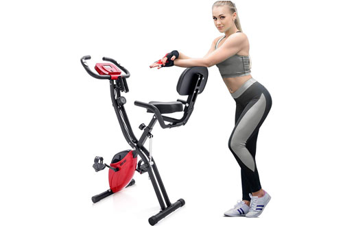 Merax Adjustable Folding Convertible Upright Recumbent Bike with Arm Bands