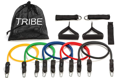 Tribe 11PC Premium Resistance Bands Workout with Handles and Ankle Straps