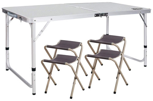 S Folding Camping Picnic Table Lightweight Portable Outdoor Brown Aluminium/& Bag
