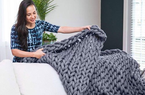 Roore GrayCottonChunky Knit Blanket