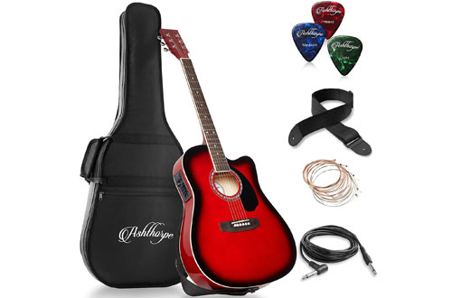Ashthorpe Full-Size Cutaway Thinline Electric Acoustic Guitar Package