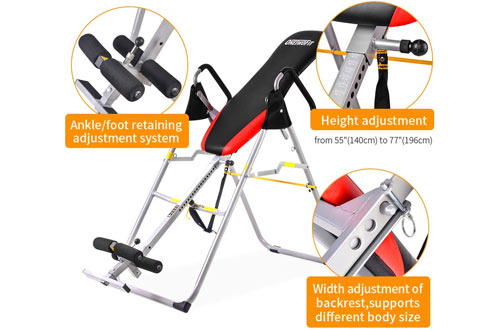 ONETWOFIT Folding Inversion Table Therapy Stretching Machine