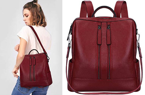 S-Zone Medium Leather BackpackCasual ShoulderPurse
