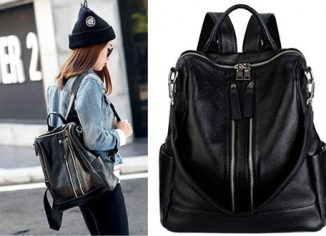YALUXE Convertible Real Leather Backpack Purse