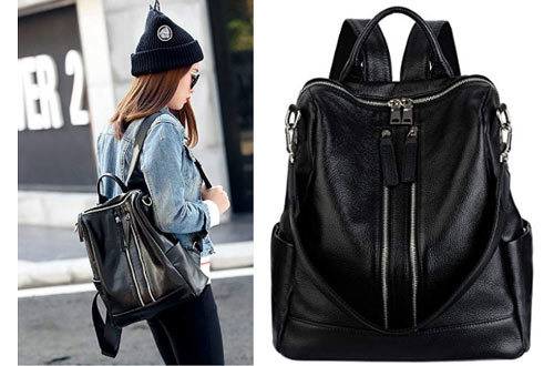 Leather Backpack for Women Casual Daypack Multipurpose Fashion Travel Bag for Ladies By COOLCY Black