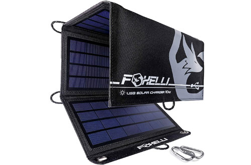 Foxelli Portable Dual USB Solar Power Charger for Camping & Outdoors
